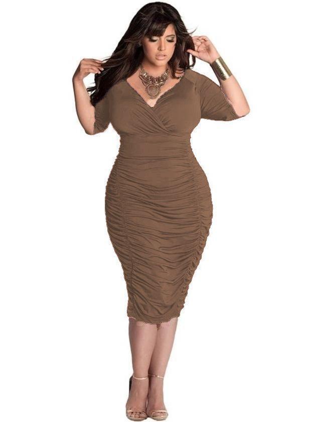 REAQKA Fashion Sexy Dress Deep V Neck Half Sleeves Mid-Calf ... 6dcd65825
