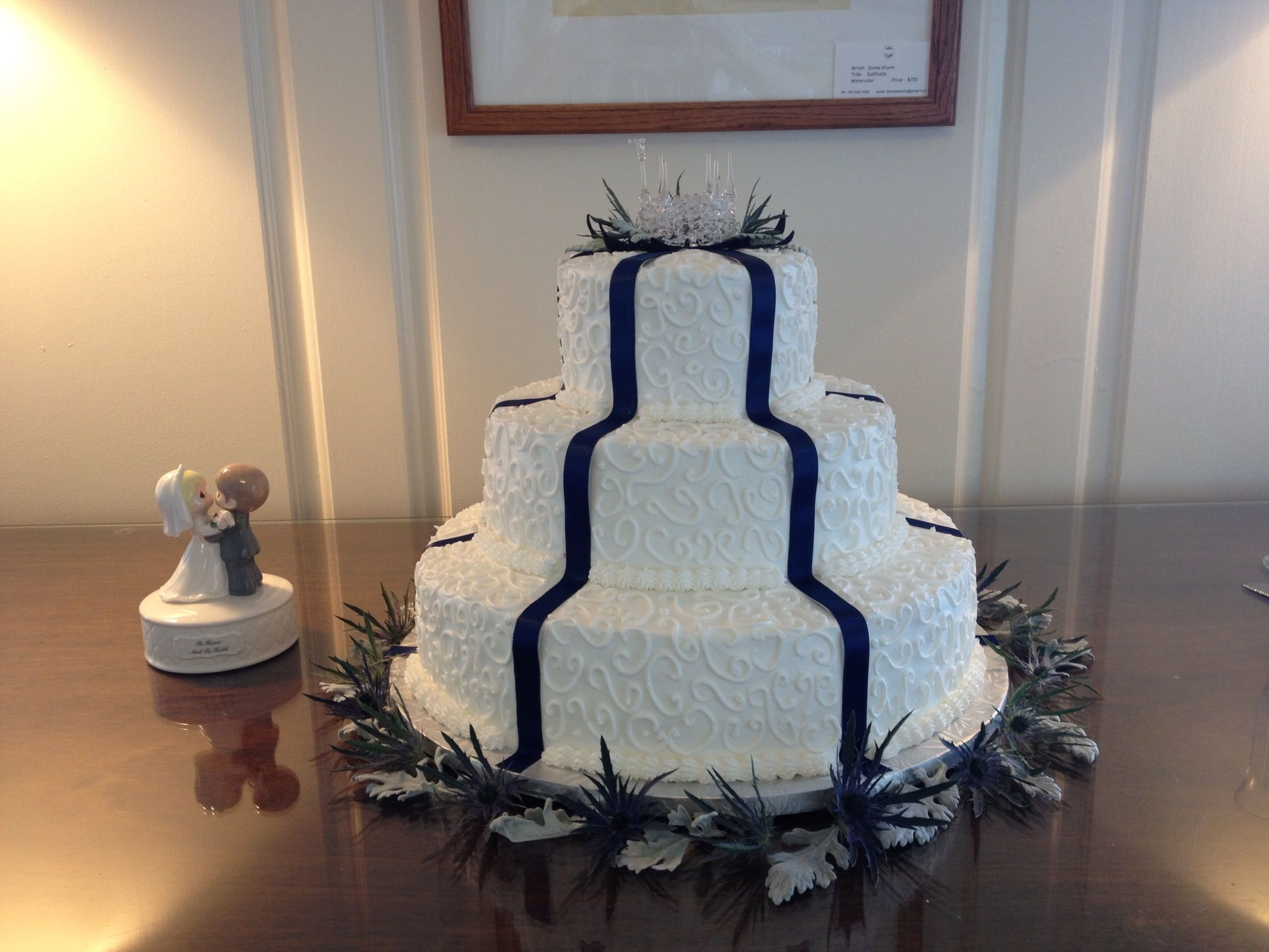 Wedding Cake In Alexandria Va 3 Tier Chocolate Fudge With Blue Satin Ribbon