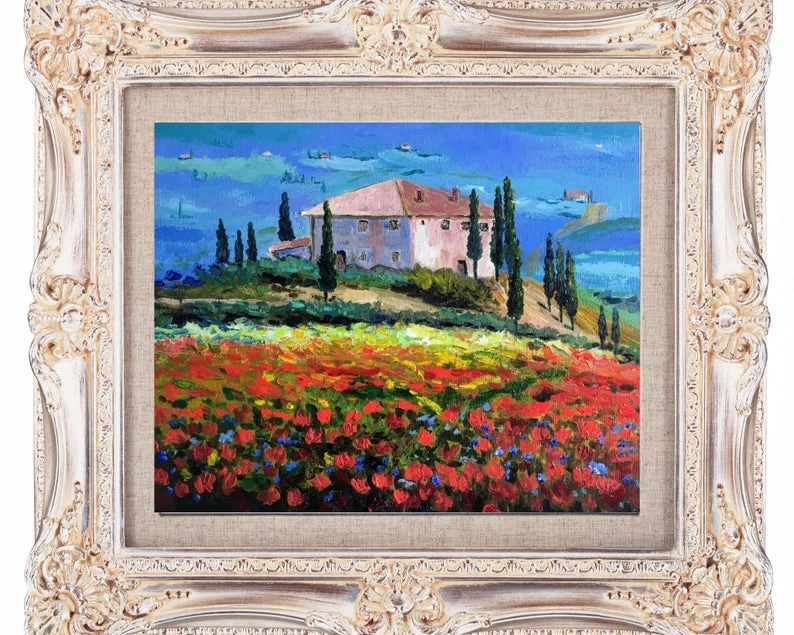 Tuscany Landscape Wildflowers Art Poppy Oil Paintings on Canvas Made t – grapeal#floralartwork #purpleiris #oiloncanvas #irispainting #colorfulpainting # #irises #bluepaintings #artforsale #floweroilpainting