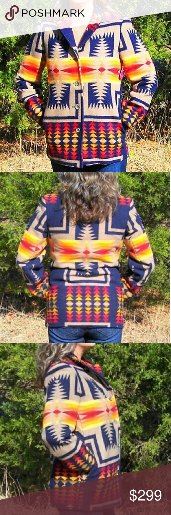 Pendleton Western Wear Indian Blanket Jacket. Stunningly Beautiful Vintage Pendleton Western Wear Wool Indian Blanket Jacket.  Women's Size Medium. Very vibrant colorful jacket. This jacket will be sure to be a favorite in your wardrobe. It's in great condition, clean no stains, all original buttons. It does have some minor moth bites but nothing noticeable. Pendleton Jackets & Coats Blazers