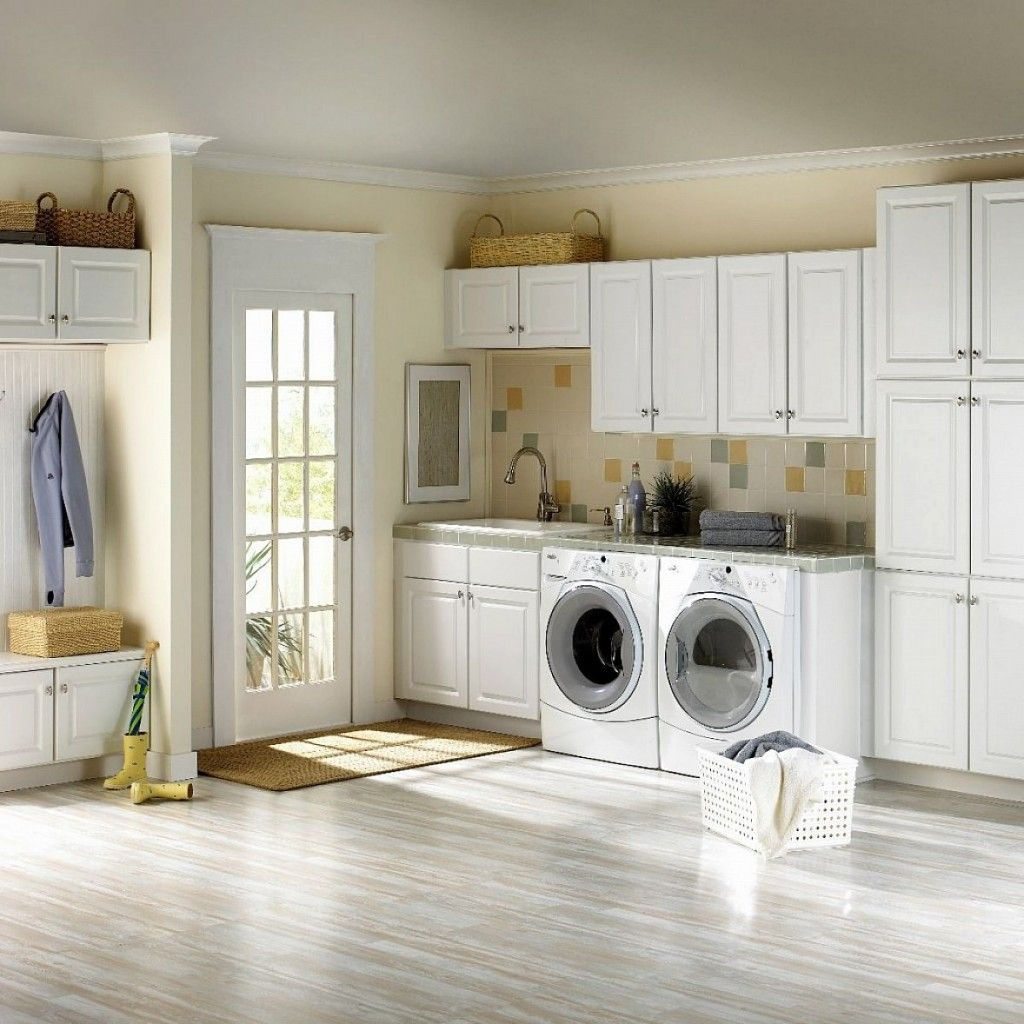Simple White Ikea Laundry Room Set With French Door Plus