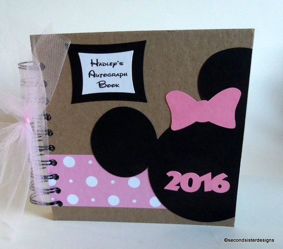 2019 Disney Autograph Book Scrapbook pink polka dot personalized Vacation Photo Book r571