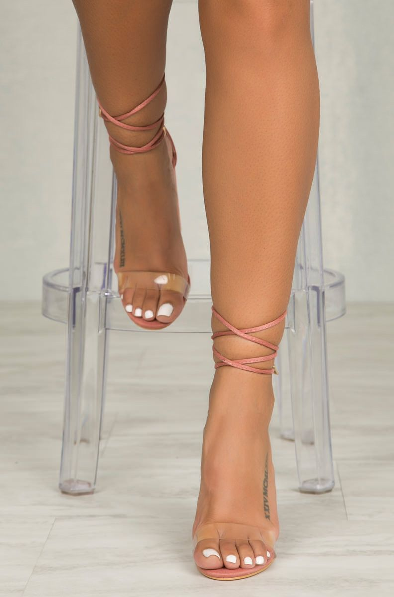 74e9ed64004 Lace up in this fun block heel. We re keeping the perspex trend going with  a front clear strap. Adjustable laces with gold hardware tips.
