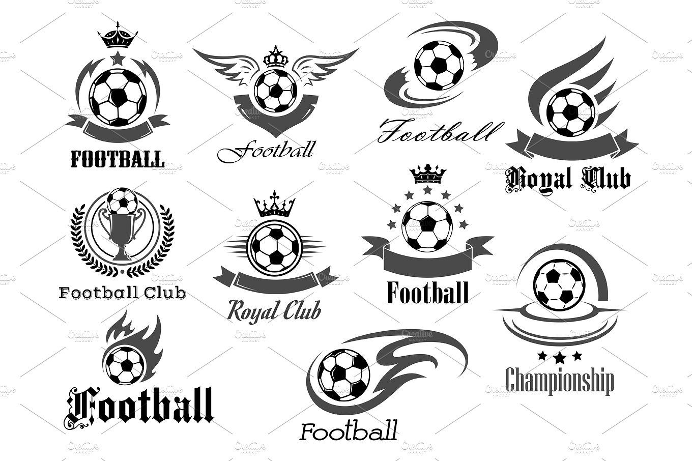 Football royal club icons set. Soccer tournament or