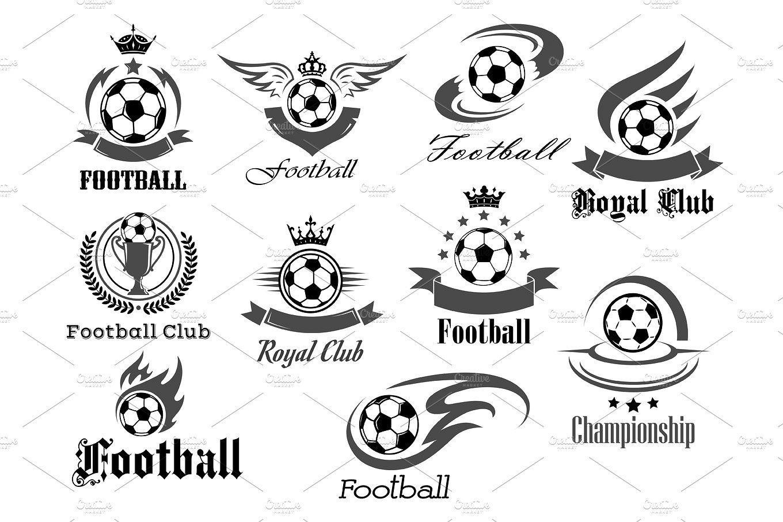 Football Royal Club Icons Set Soccer Tournament Or Championship