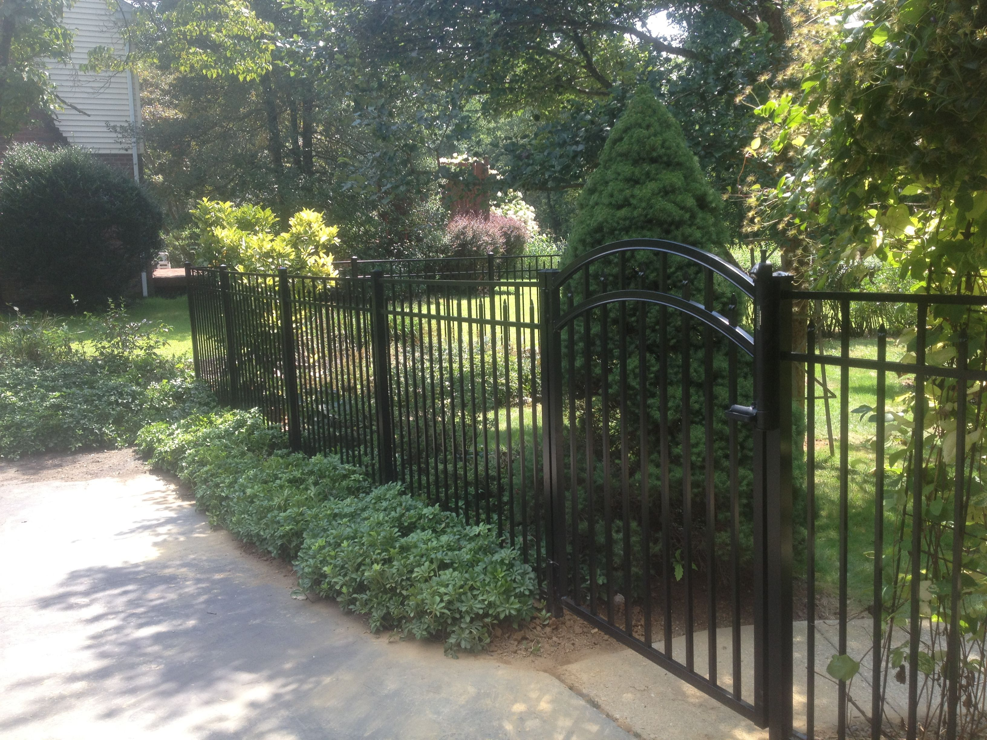 Black Alumium Fence with Arched Gate Outdoor, Pool patio