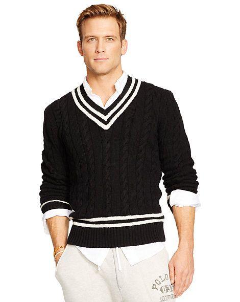 a7efd3187a6116 Cotton-Blend Cricket Sweater - V-Neck Jumpers - Ralph Lauren France ...