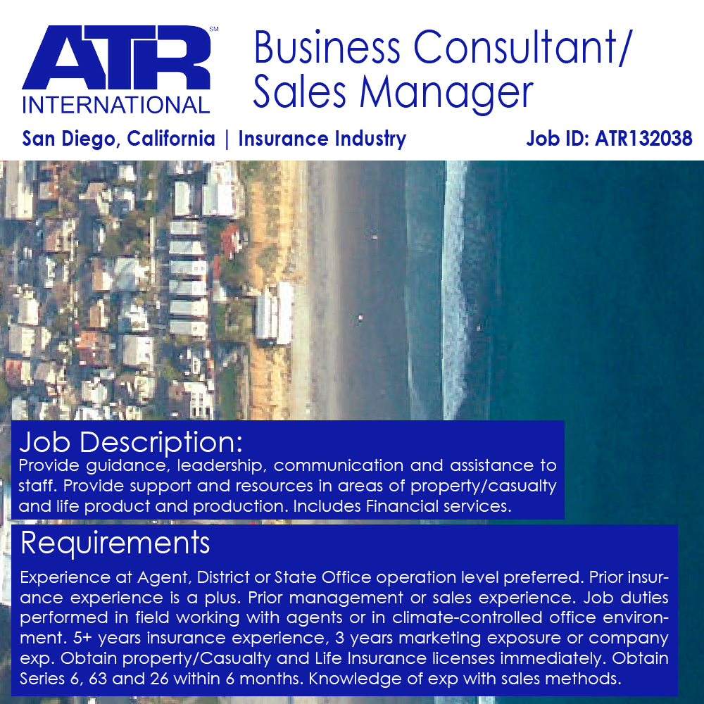 We Are Hiring For A Business Consultant Sales Manager In San Diego