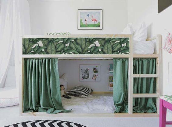 Kura Lit Ikea Banane Feuilles Bed Set Autocollant Pack De 5