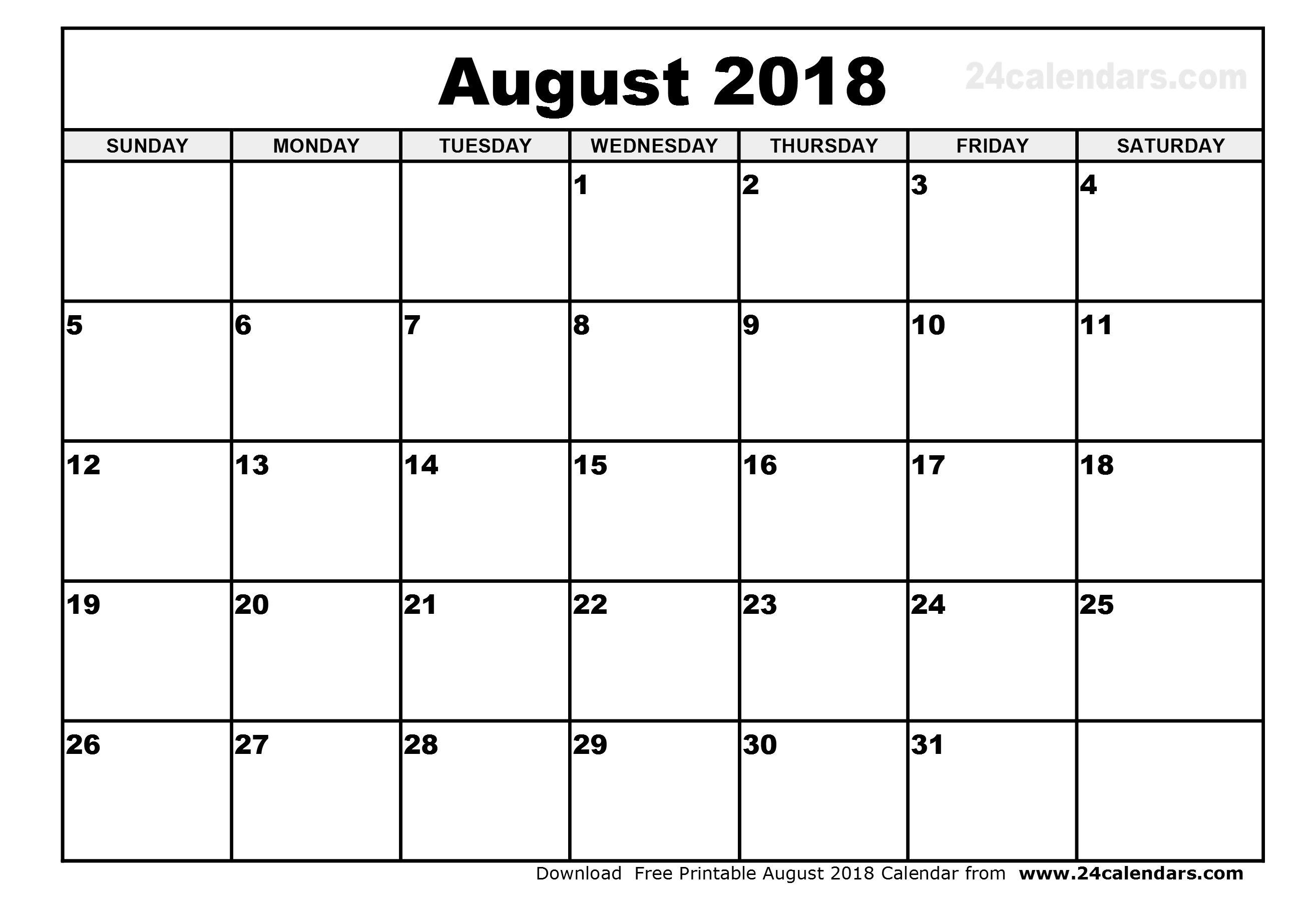 August 2018 Calendar Philippines January 2018 Calendar Printable