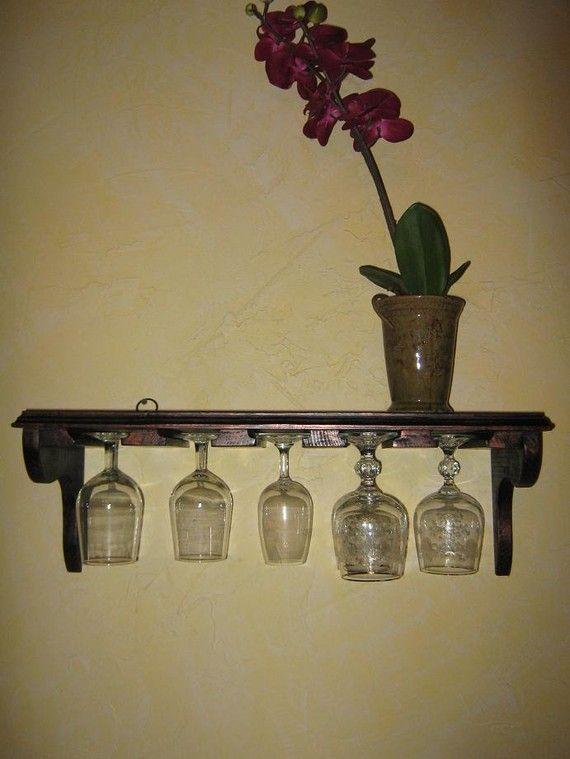 Wine Glass Stemware Shelf Black and Copper from by MichelleNapier, $35.00