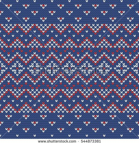 Christmas knitting seamless pattern in Red, Blue and White ...
