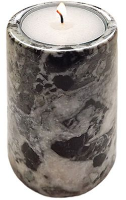 Beautiful black marble cylinder candle holder measuring at 3.15 x 2 inches (8 x 5 cm).