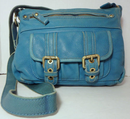 21.77$  Buy here - http://vikzx.justgood.pw/vig/item.php?t=las1mp2610 - TANO Turquoise Distressed Leather Crossbody Handbag Purse