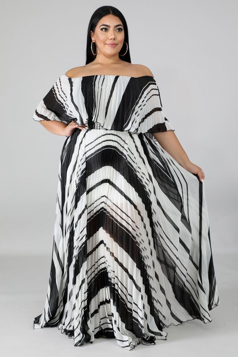 This Pleated Accordion Maxi Dress Features A Stretch Fabric Off Shoulder Ruffle Neckline Underlined No Clos Maxi Dress Plus Dresses Plus Size Summer Outfit [ 1200 x 800 Pixel ]