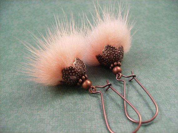 Fur Earrings  Peachy Pink REAL Mink Fur and Copper by justEARRINGS, $17.00  https://www.etsy.com/listing/84427994/fur-earrings-peachy-pink-real-mink-fur