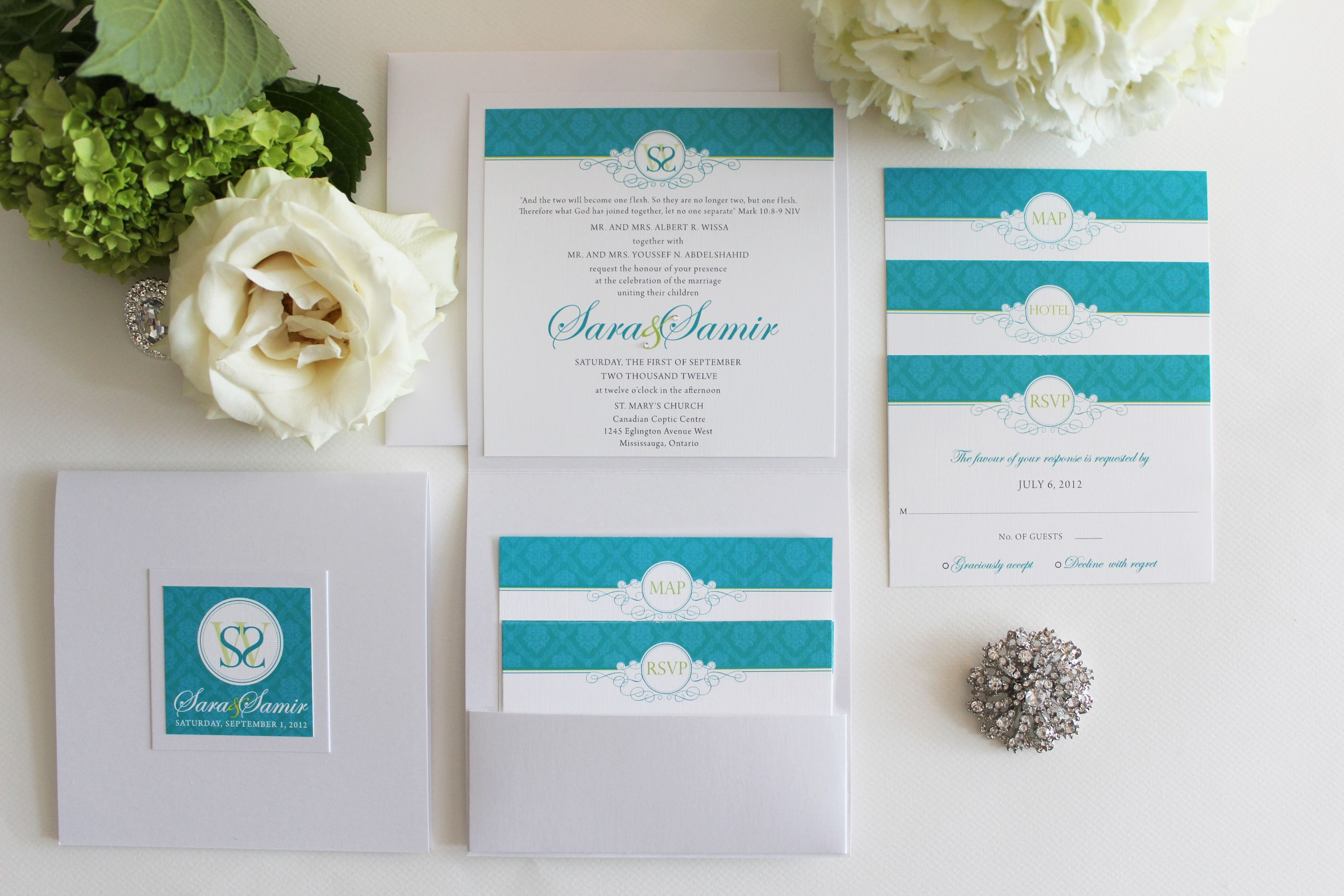 Bright Teal and Lime Green Wedding Invitation Designed by #inkandpaper @Lisainkandpaper #wedding invitations