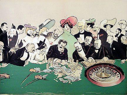 Roulette em Monte Carlo, c. 1900 SEM  [Georges Goursat]  (França 1863-1934)