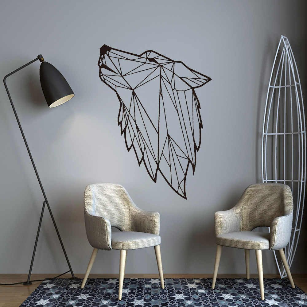 nordic style art geometric wolf vinyl wall sticker for on wall stickers for living room id=15690