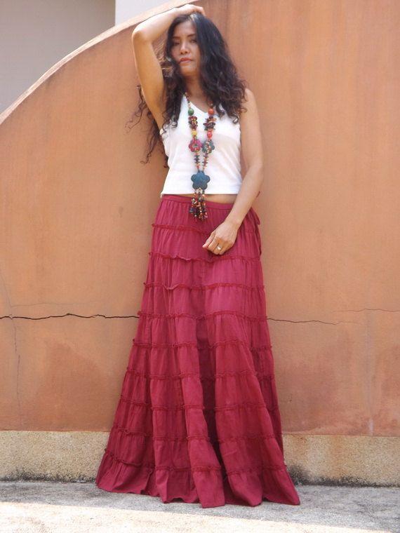 d58c77eee6 Long Skirt..Long Boho Skirt ....Long Maxi Skirt ..Full Length Skirt ...