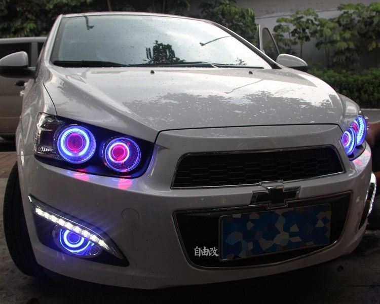 Fog Cover For Chevrolet Sonic Aveo 2011 2013 2x High Quality Superb Cob Ccfl Angel Eyes Halo Foglights Projector 2 Chevrolet Aveo Aveo Tunning Carros Bonitos
