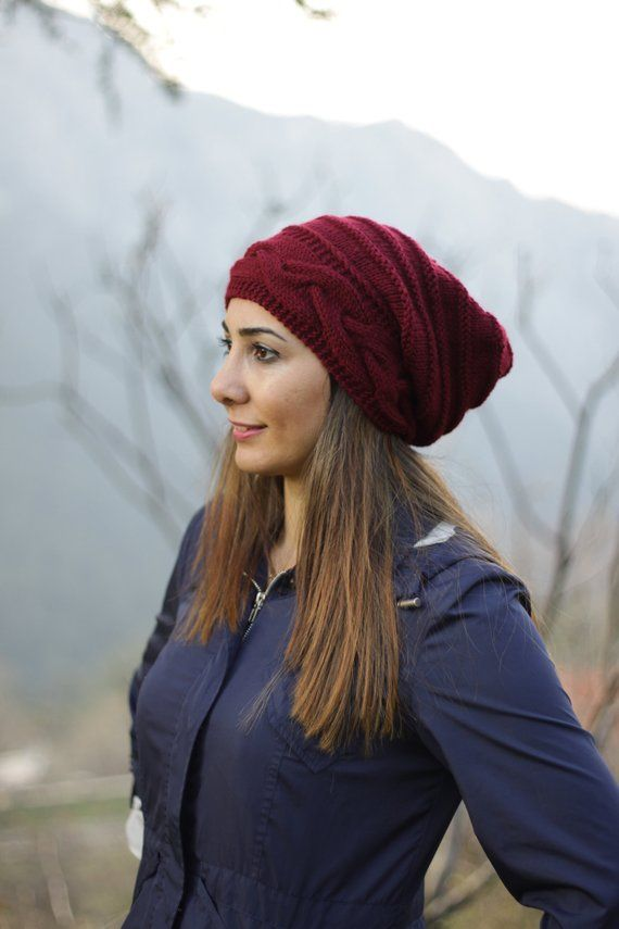 bc2c4079a88626 Burgundy women slouch hat with cable knit pattern, Winter oversized beanie