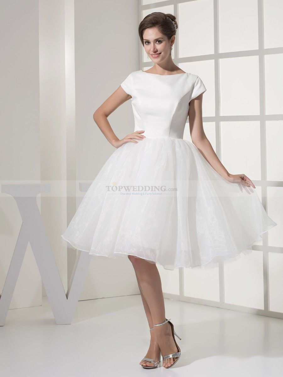 Short sleeved satin and organza graduation dress graduation
