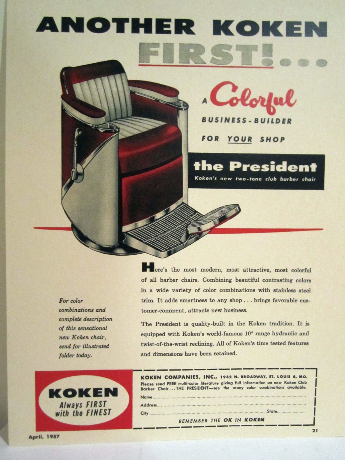 Vintage 1950 S KOKEN PRESIDENT TWO TONE CLUB Barber Chair Color Sign AdVintage 1950 S KOKEN PRESIDENT TWO TONE CLUB Barber Chair Color  . Ebay Barber Chairs Used. Home Design Ideas