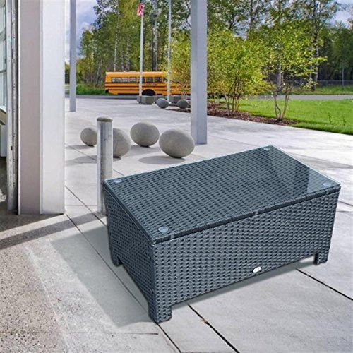 coffee table w iron frame tempered glassblack this luxury rattan furniture set - Rattan Coffee Table