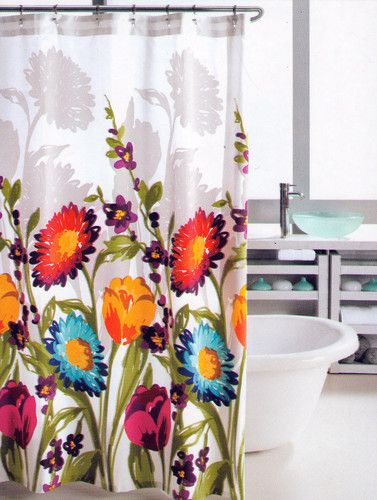 US $37.99 NEW Hillcrest Bright Blue Yellow Orange Purple Floral Fabric Shower  Curtain | EBay
