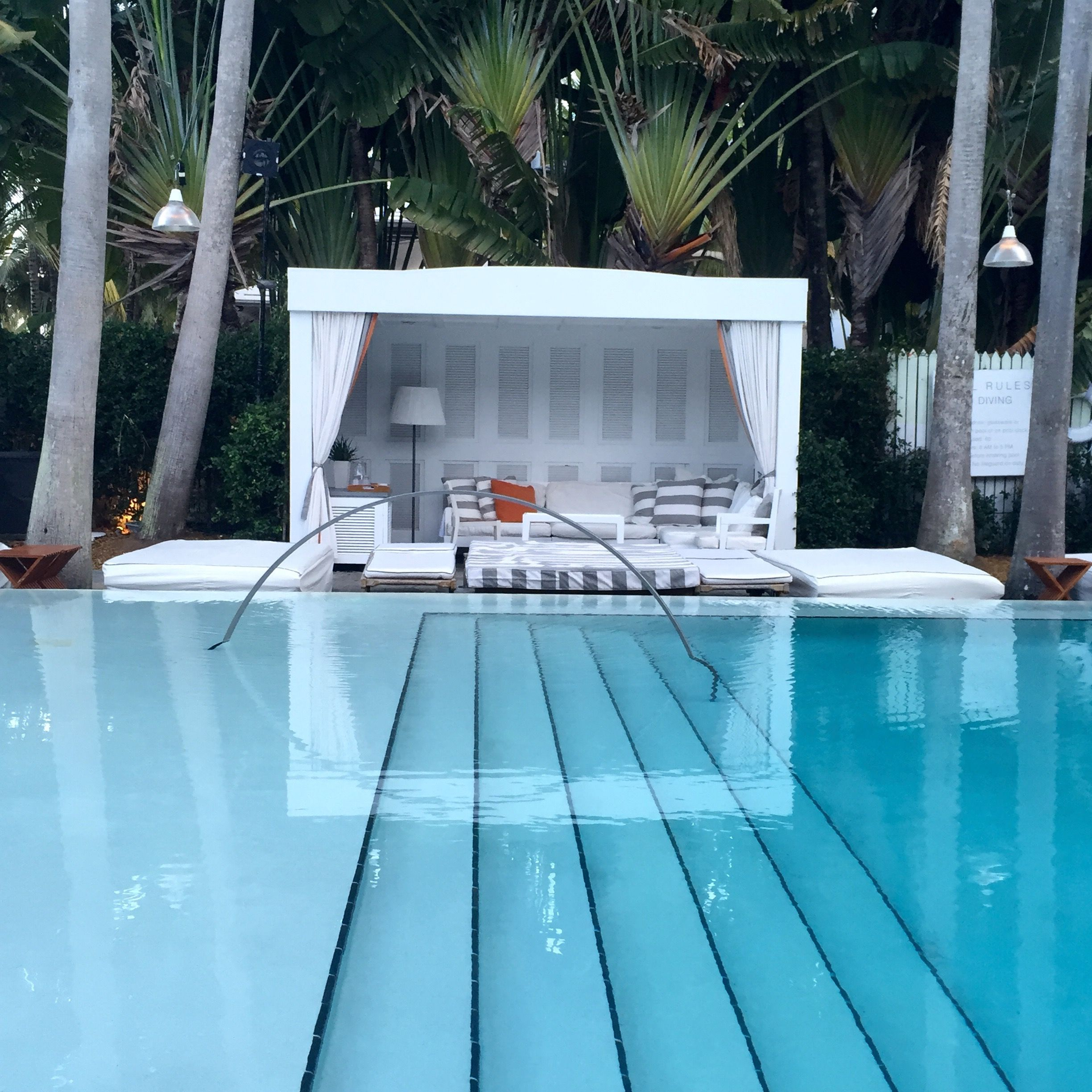 Cabana by the pool at the Delano in Miami | Pool houses ... on Small Pool Cabana Ideas id=64120