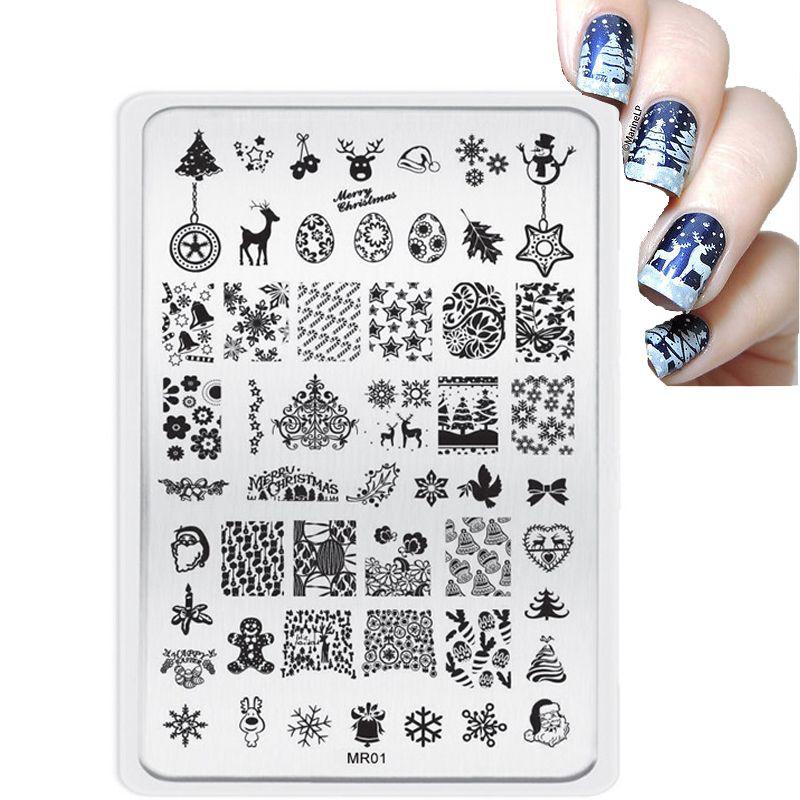 2017 Lot Big Style Christmas Decorations Nail Stamping Plates Konad ...