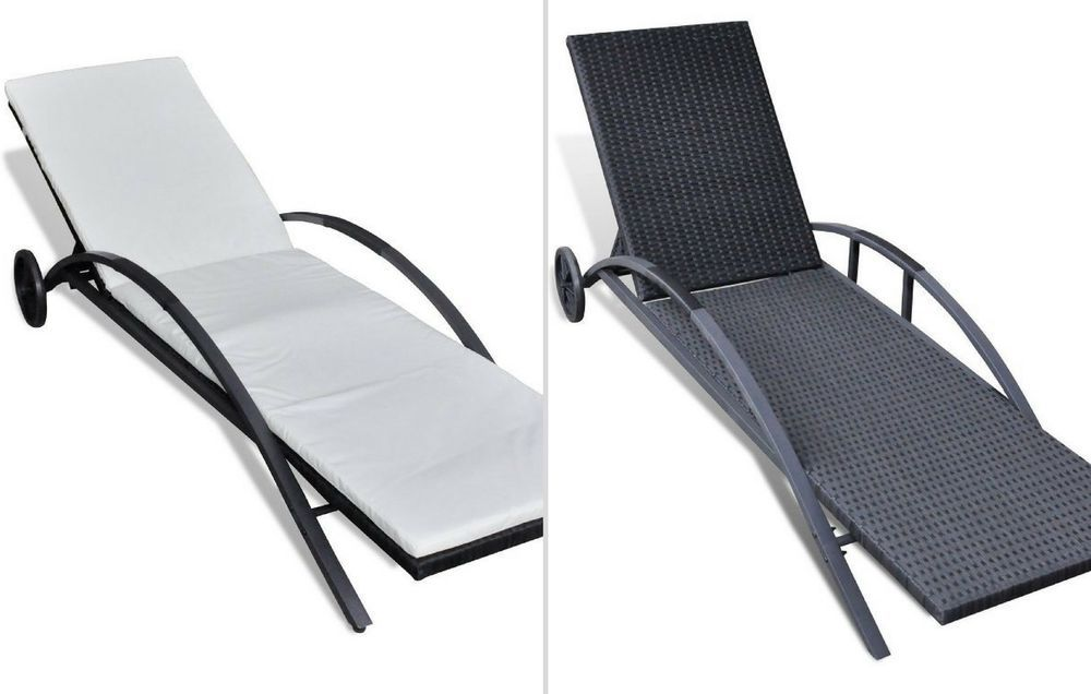 Black Pool Rattan Sunbed Lounger Adjustable Garden Hotel Spa