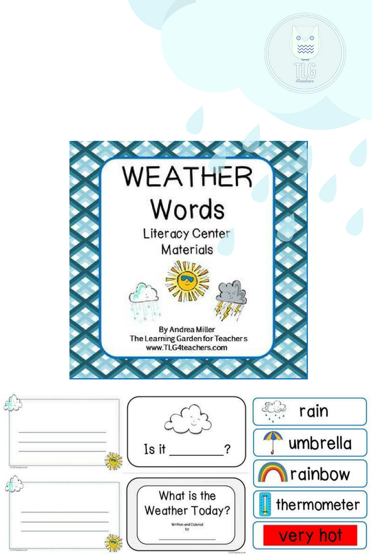 Weather words literacy center materials kindergarten classroom weather words literacy center materials nvjuhfo Images