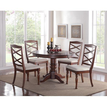 Cherry Wood Finish Modern Casual Dining Room Round Pedestal Base Dining  Table Cushion Chairs 5pc Dining