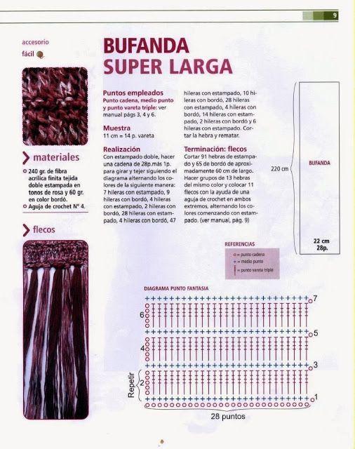 Bufanda Super Larga Crochet Instrucciones - Patrones Crochet ...