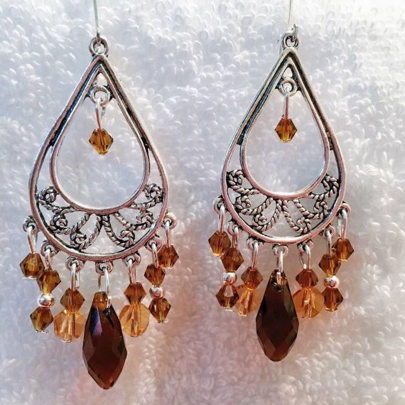 Amber Chandelier Earrings Briolette Teardrop Crystal Swarovski