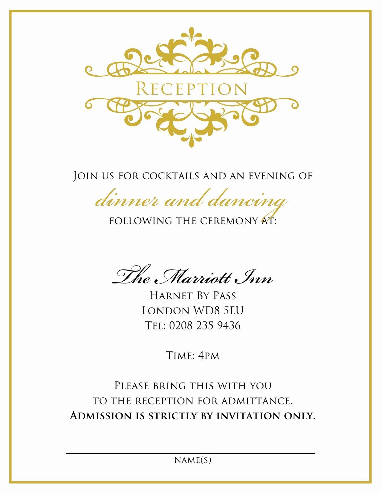 Wedding Reception Invitations Template