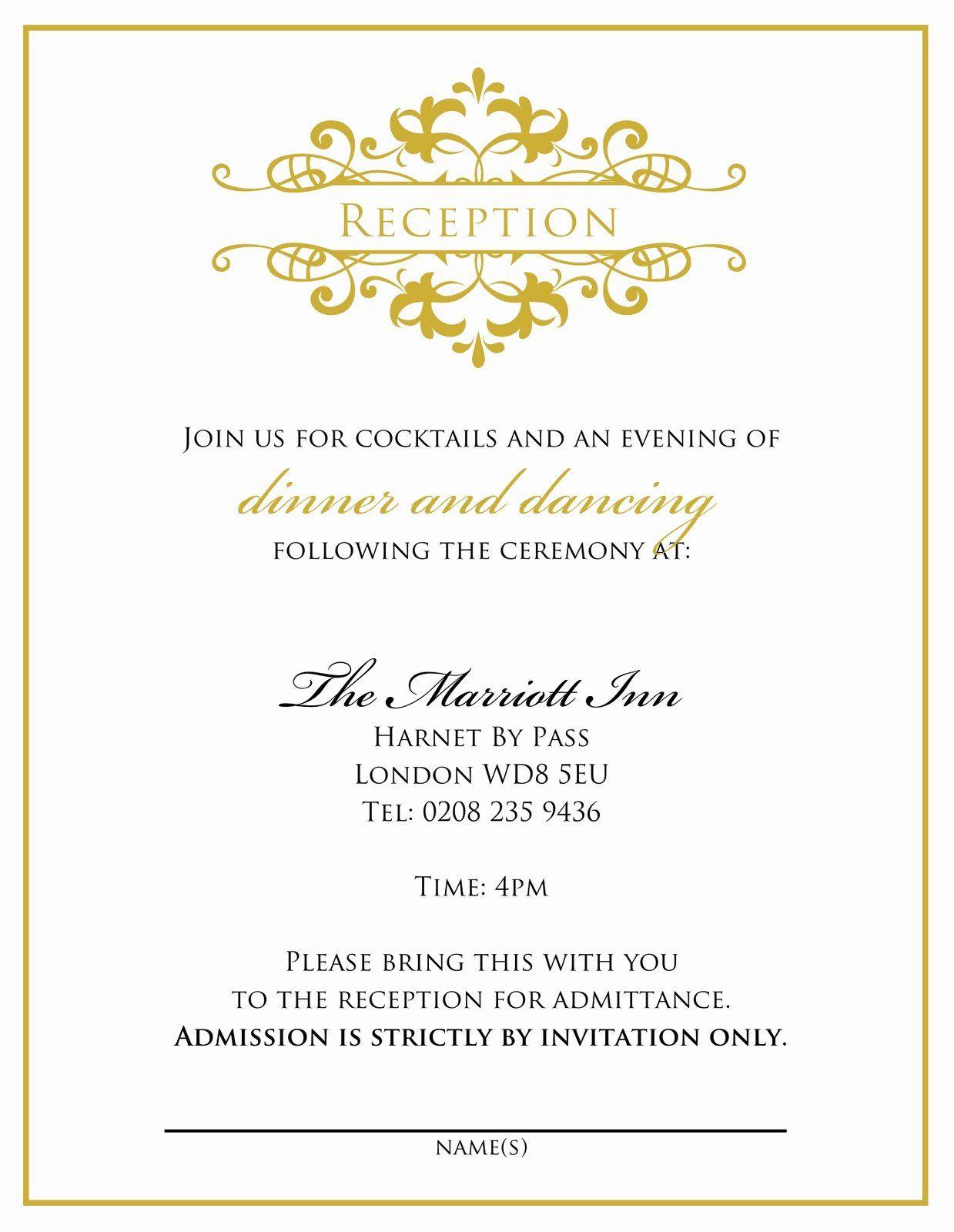 35 Wedding Reception Invitations Template Wedding