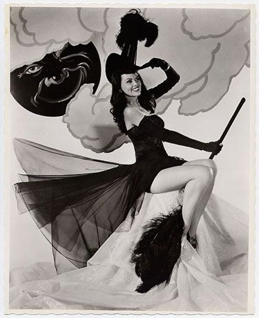 During the 1940's and 1950's, Halloween costumes weren't as advance as ours. But this is where the classic halloween costumes were born. Black cats, Witches and Jack O'Lanterns were all the rage. And maybe a ghost but Pin Ups didn't really rock ghost costumes.
