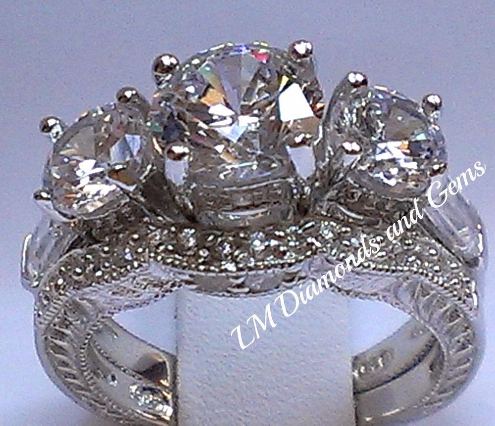 925 Sterling Silver 14K Rnd CZ Wedding Set 3 Stone Estate Bridal