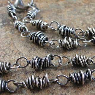 Use Antiqued Sterling Silver plated Mobius and wire wrap between sets!  This design is by Mary Newton Jewelry