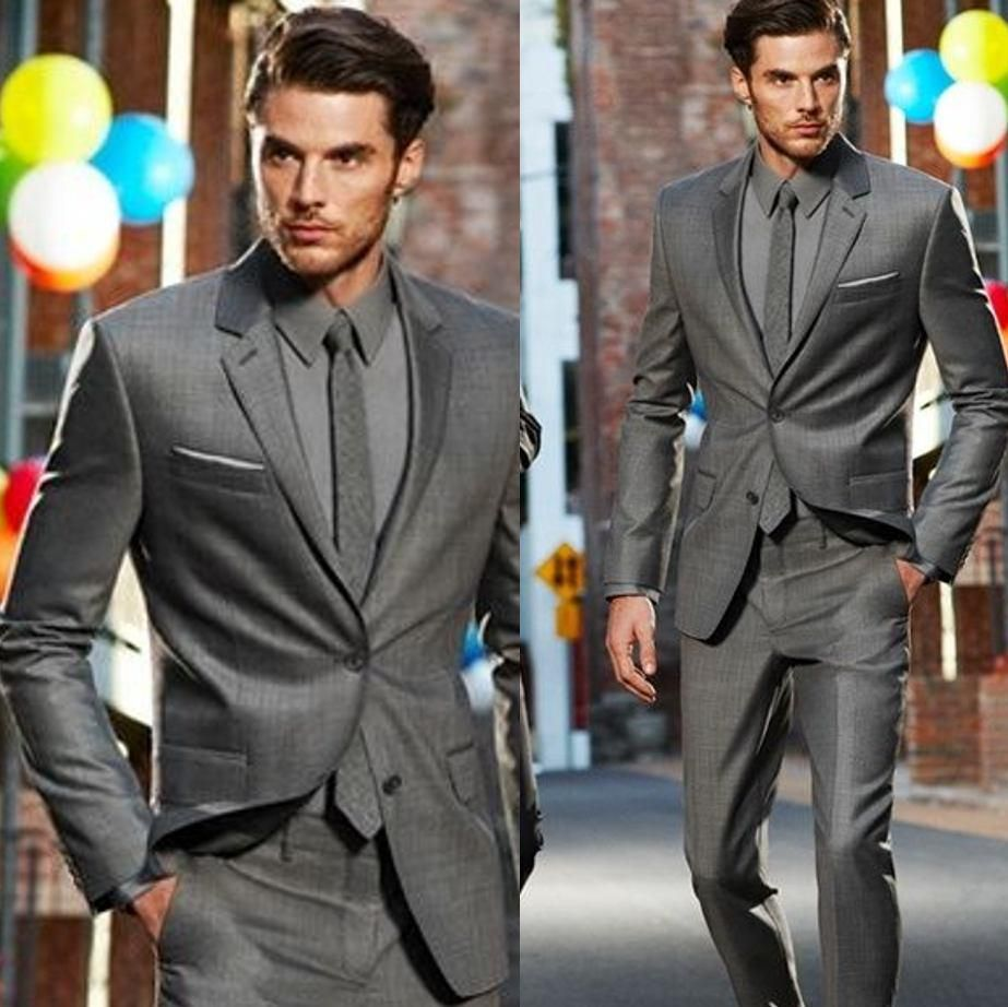 New Arrival Custom Made Dark Gray Clic Groom Tuxedos Best Man Suit Wedding Fashion Jacket