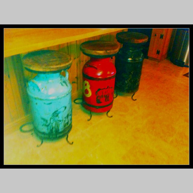 Barstools out of old milk cans love them my style for Repurposed milk cans