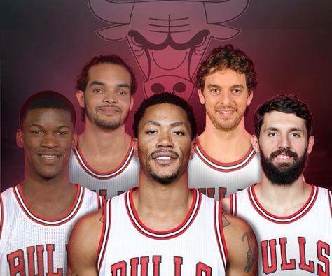 Pau Gasol with other Chicago Bulls: Butler, Noah, Rose, Mirotic