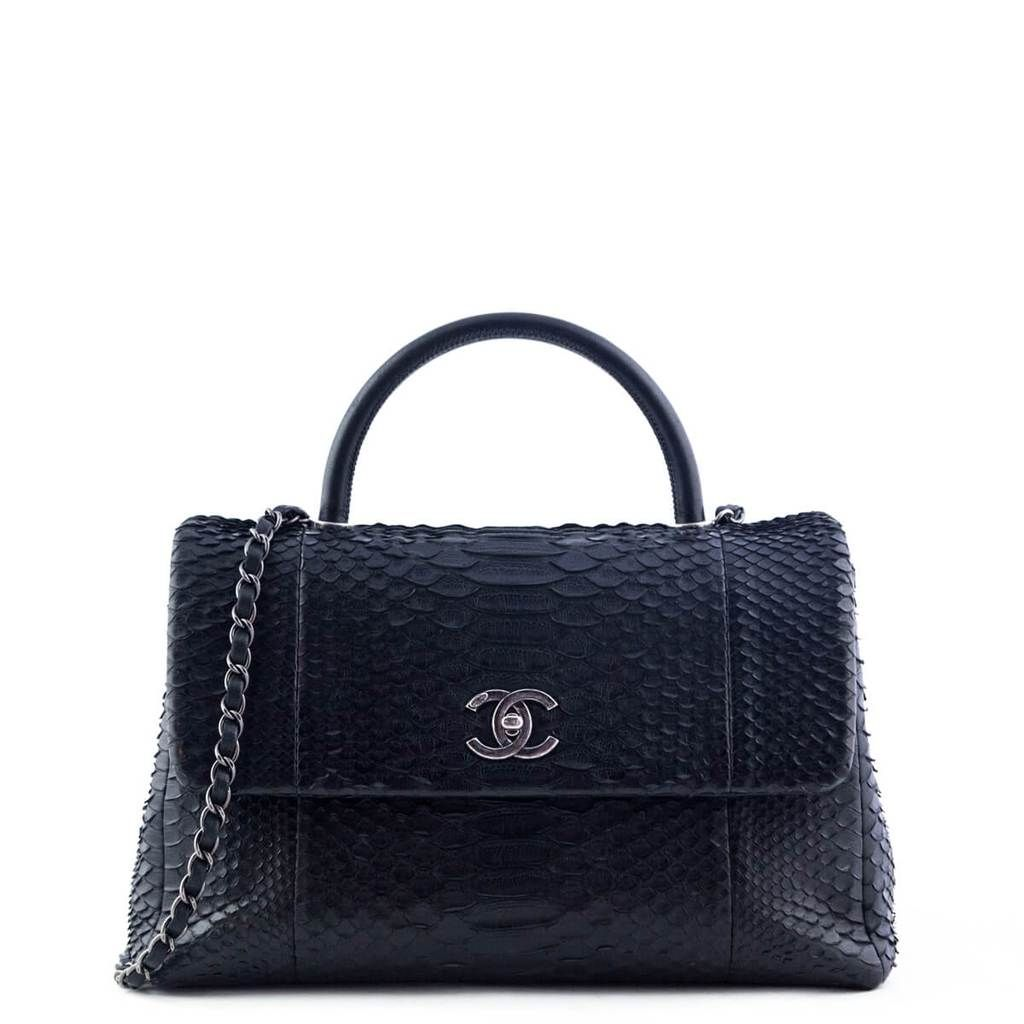 Chanel Black Python Medium Coco Handle Bag Love That Bag Preowned Authentic Designer Handbags 7200cad Bags Authentic Designer Handbags Python Bags