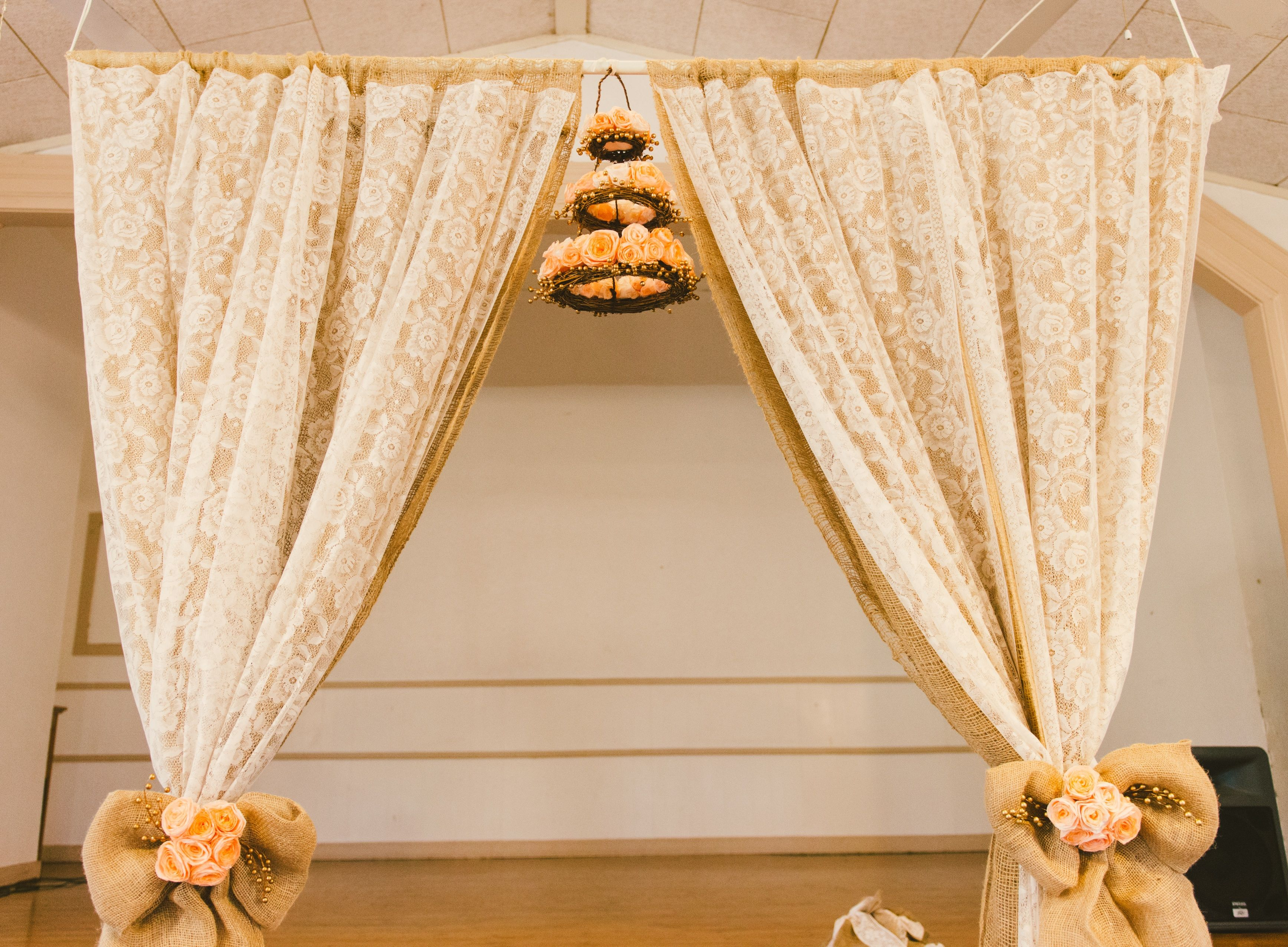 Diy Wedding Arch Lace Curtains From Thrift Store And Long