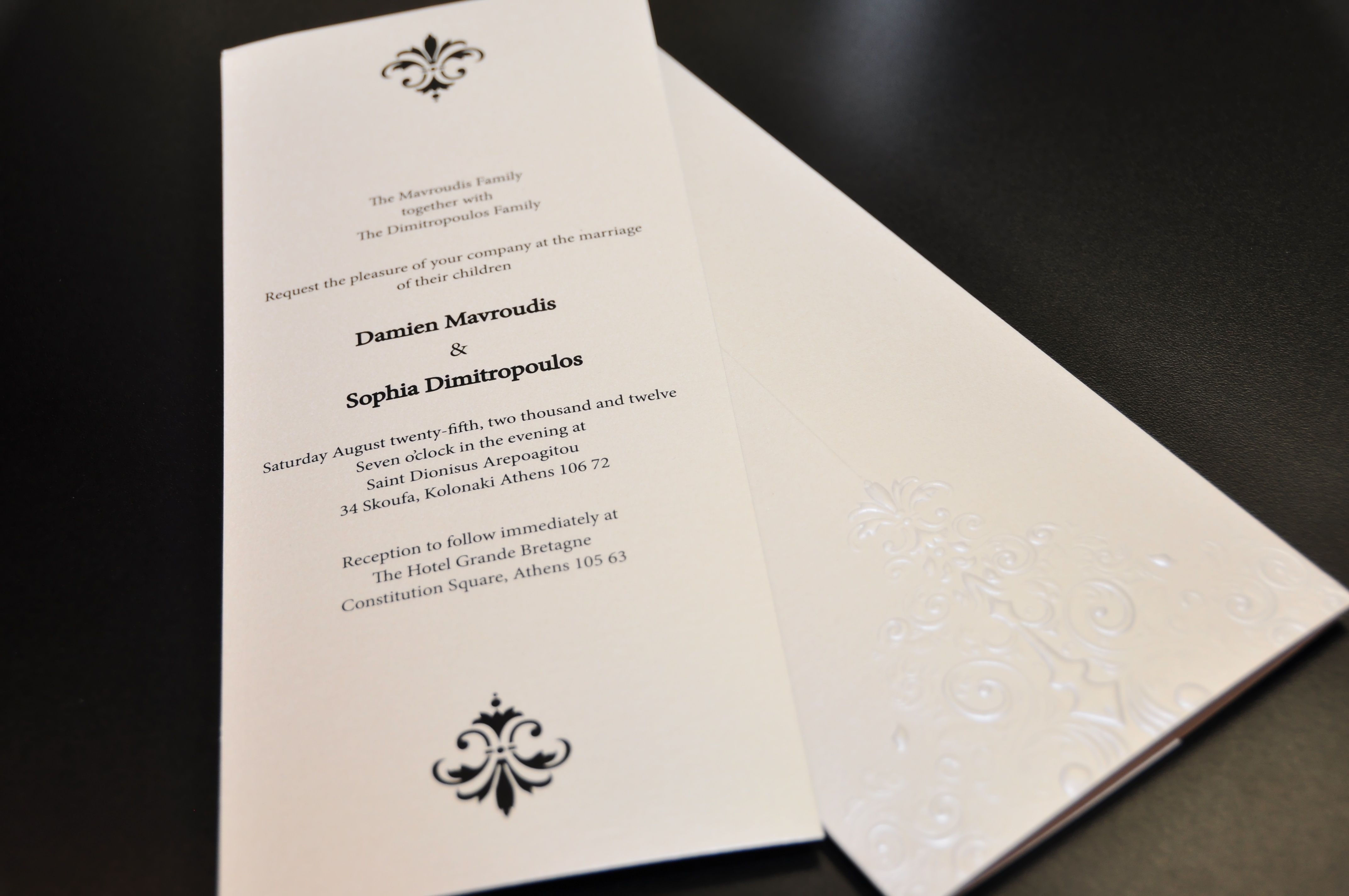 Custom made wedding invitation on silver metallic paper. Custom ...