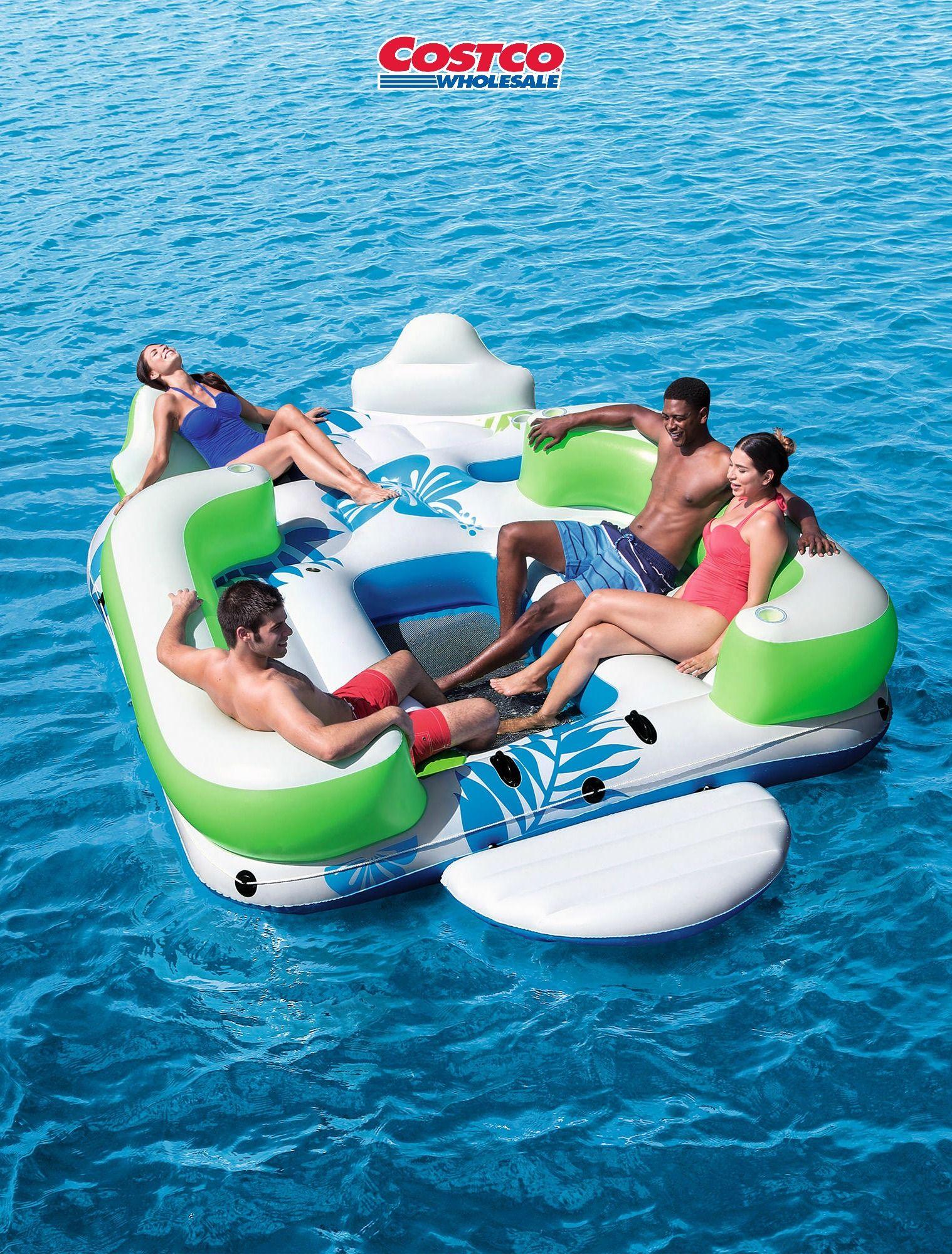 Gang Plank Lounging Inflatable Island HD Mattress Raft Lilo Tube for beach pool