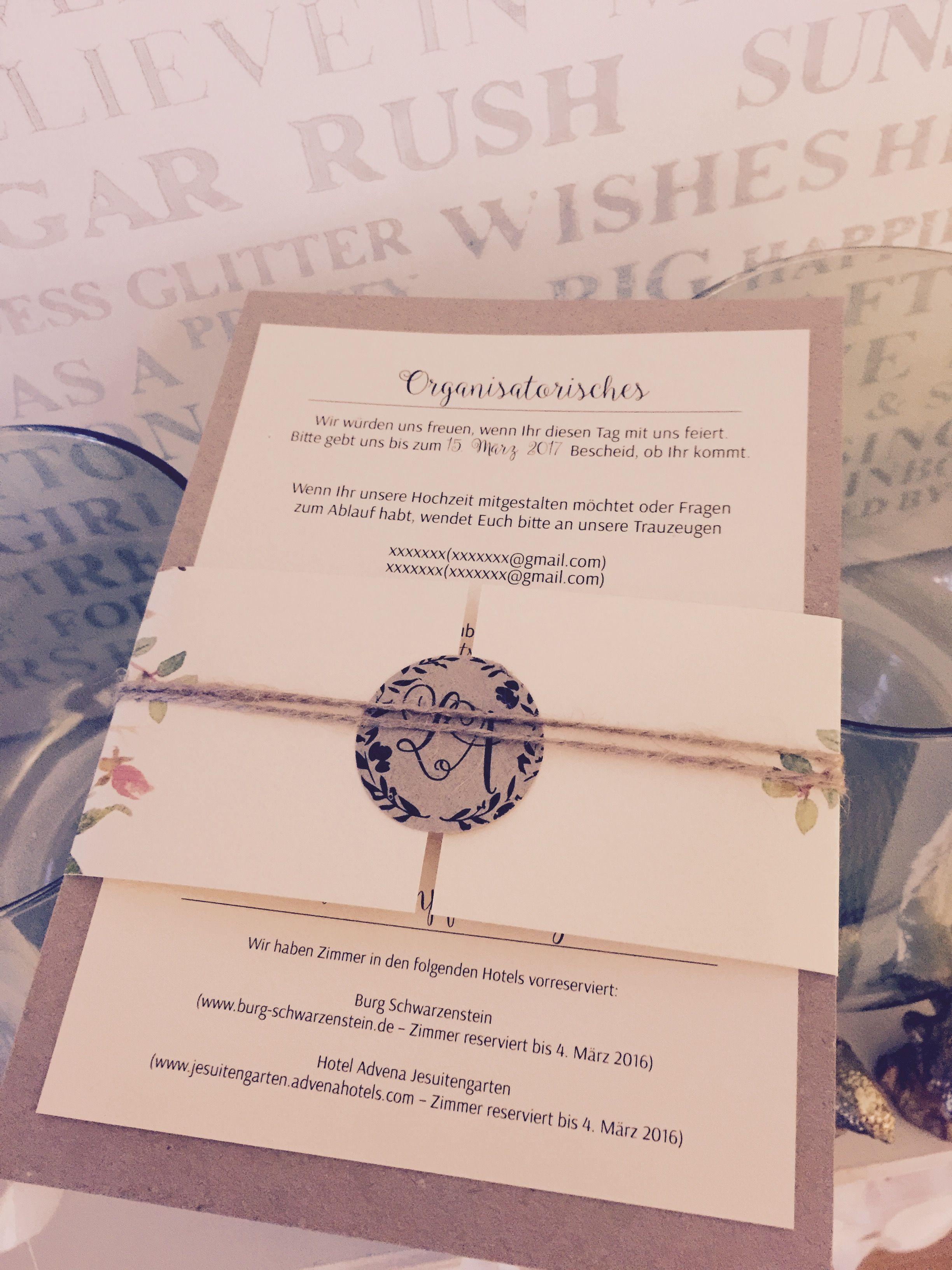 Rückseite Einladungskarten Hochzeit Vintage Mit Aquarell Blumen ,  Watercolor, Kordel Und Kraft Papier   Hand